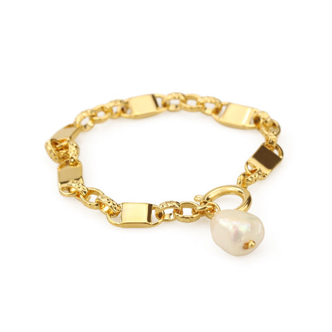 Gold Natural Real Pearl Thick Chain Bracelet WX1778