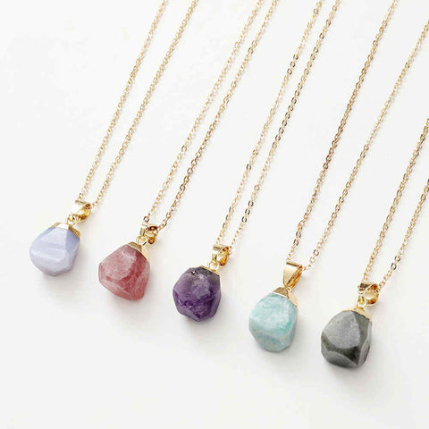 Natural Raw Stone Pendant Necklace AL299