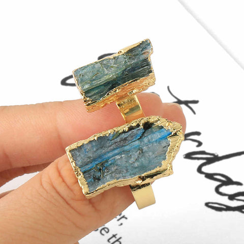 Natural Kyanite Black Tourmaline Raw Stone Ring