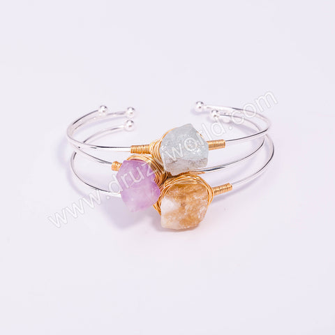 Silver Plated Wire Wrap Natural Stone Bangle WX1703