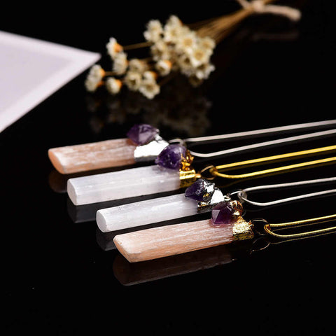 Natural Selenite Quartz Amethyst Bar Pendant Necklace AL268