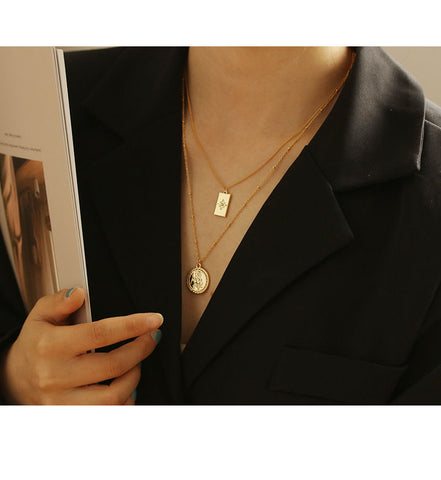 Zircon Square Pendant Necklace for Women Minimal Cool Chic Necklace WX1780
