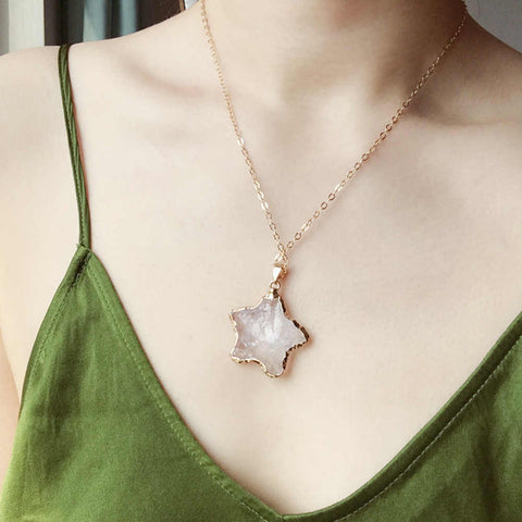 "Raw Clear Quartz Gold Pendant 18"" Necklace AL085"