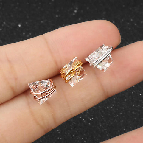 Tiny Clear Crystal Wrap Earrings