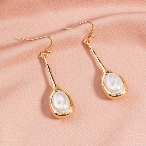 Natural Pearl Gold Drop Earrings AL174