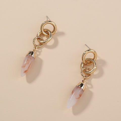 Pink Stone Crystal Point Gold Earrings AL171
