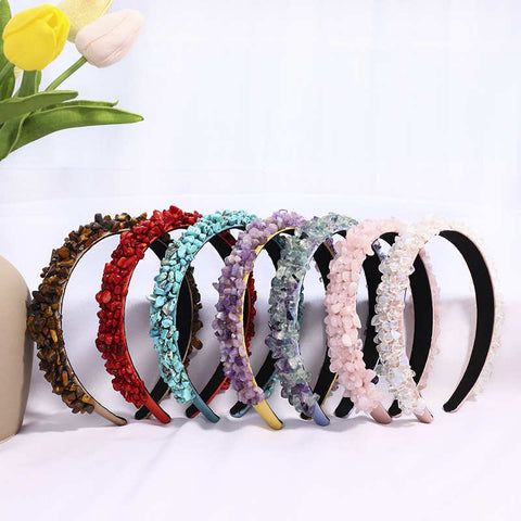 Baroque Style Popular Natural Stone Chips Headbands