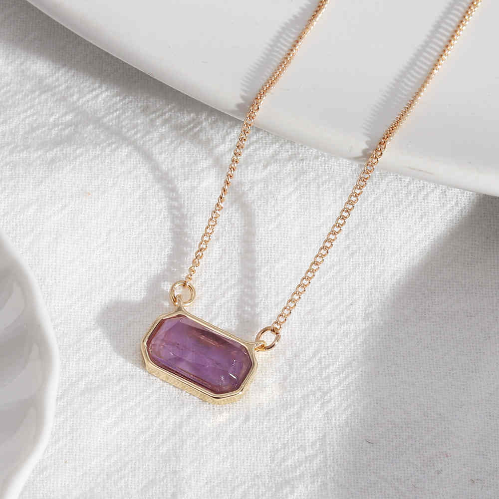 Natural Amethyst Clear Qaurtz Gold Chain Necklace