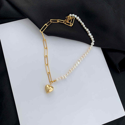 Gold-plated Love Clavicular chain Freshwater Pearl Necklace WX1787