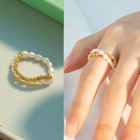 Natural Pearl Ring Gold WX1790