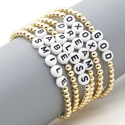 Gold-plated Metal Beaded Boho Chic Letter Friendship Bracelet