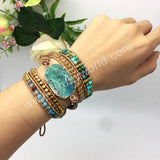Natural Chrysocolla Beads Wrap Bracelet Handmade Bracelet HD0178