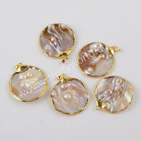 Gold Plated Round Natural Pearl Pendant For Handmade Jewelry G1901