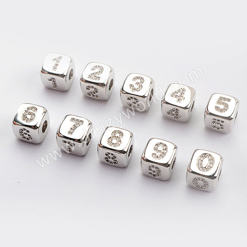 CZ Micro Pave Number Beads For Jewelry Making Silver Plated WX1335