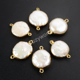 Round Gold Plated Natural Pearl Connector Double Bails G1071