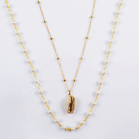 18K Gold Plated Cowrie Shell With Pearl Beads Layer Necklace For Women G1635