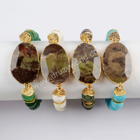 Gold Plated Faceted Spiderweb Agate With 10mm Multi-Kind Stone Beads Bracelet G1555