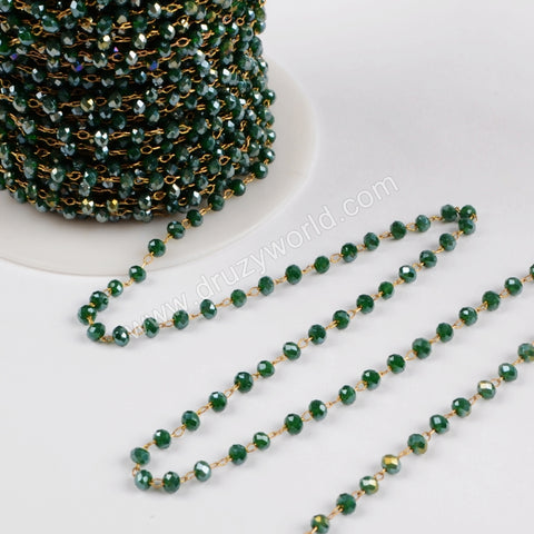 5m/lot,3mm Atrovirens Glass Beads Chains  JT171