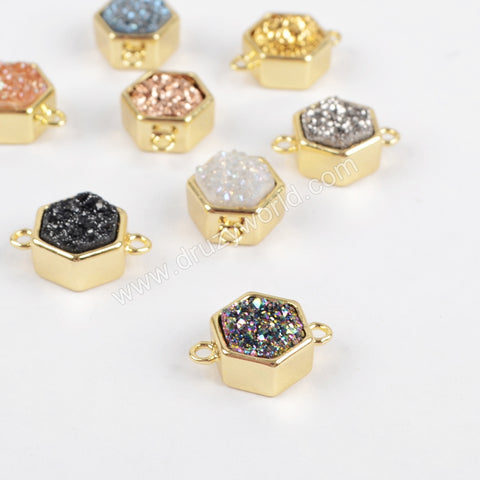 Hexagon Gold Plated Bezel Natural Agate Titanium Rainbow Druzy Connector Double Bails ZG0138