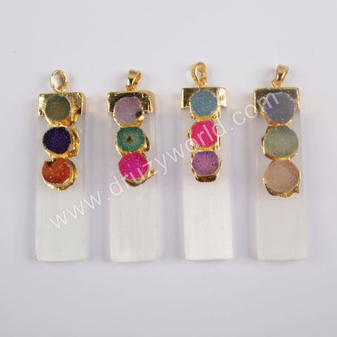 Rectangle Gold Plated Selenite Stone & Rainbow Agate Druzy Pendant G1854