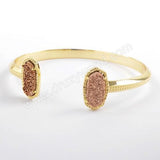 Gold Plated Claw Hexagon Double Rainbow Titanium Druzy Open Bangle ZG0344