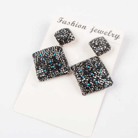 Rhinestone Pave Diamond Shape Stud Earrings JAB770