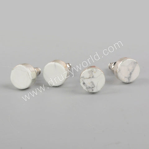 925 Sterling Silver 8mm Round White Howlite Studs CL275