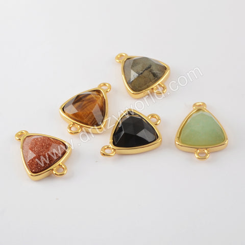 Natural Multi-kind Stones Connector Jewelry Making Gold Plated WX1299