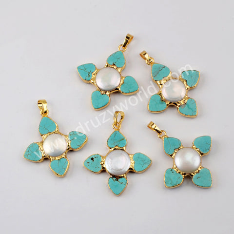 Blue Howlite Pearl Pendant Charm Jewelry Making Gold Plated G1952
