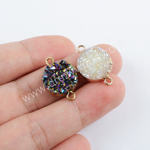 15mm Titanium Rainbow Agate Druzy Connector Gold Plated  G1695