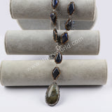 Rhinestone Pave Labradorite Agate Beads Natural Quartz Necklace JAB788