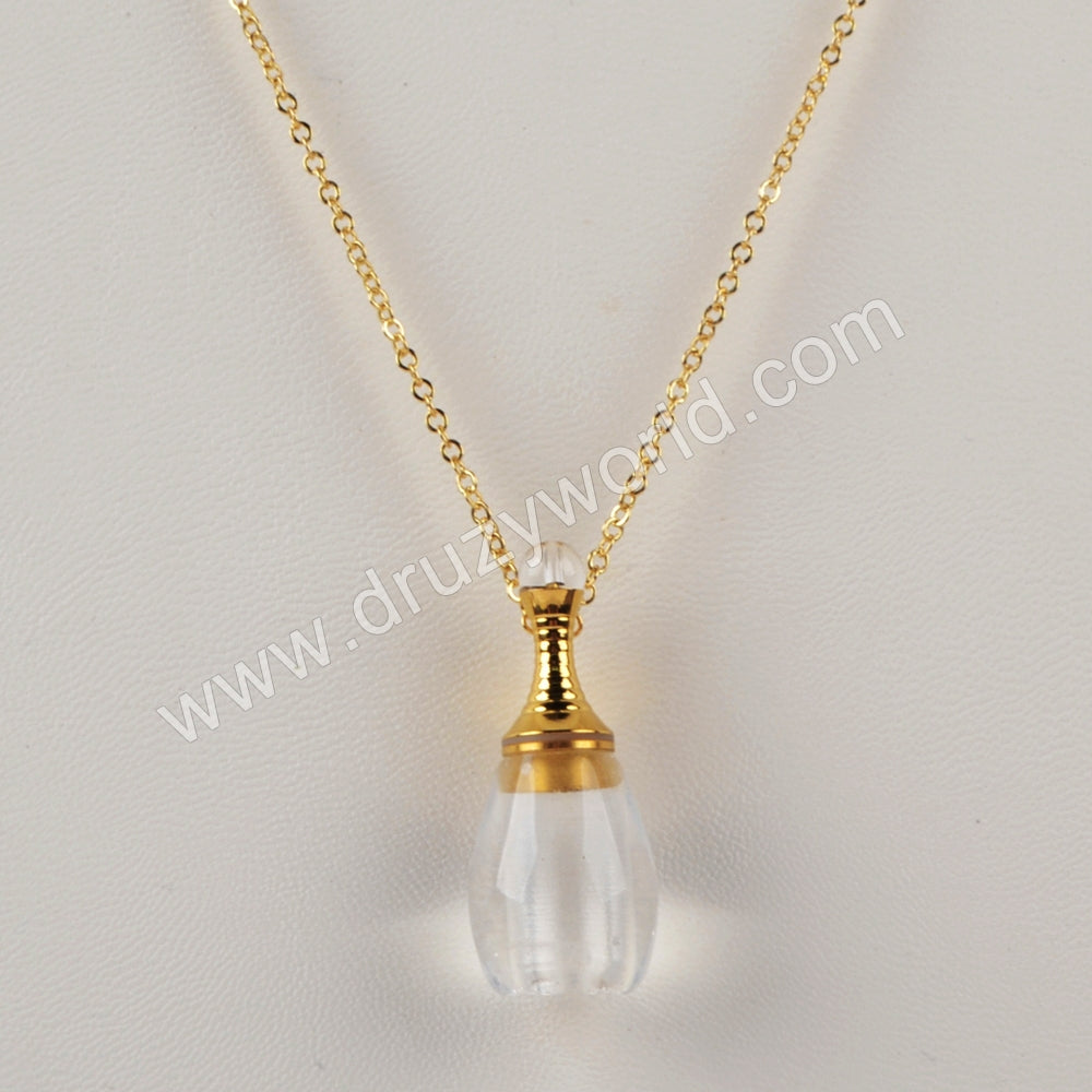 "26"" Gold Natural Stone Perfume Bottle Necklace WX1221-N"