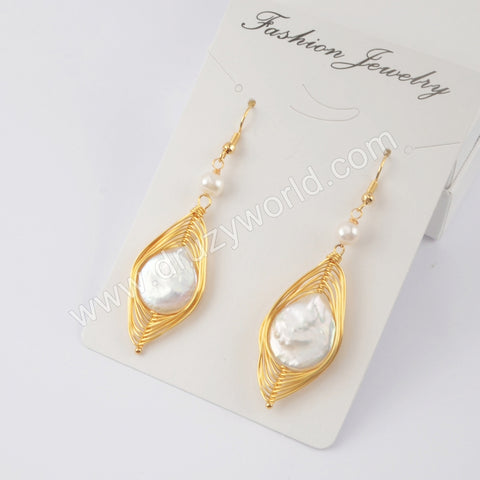 Leave Shape Natural Pearl Wire Wrap Dangle Earrings WX1215