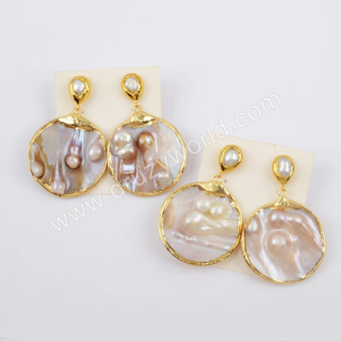 Gold Plated Round Natural Pearl Earrings G1901-E