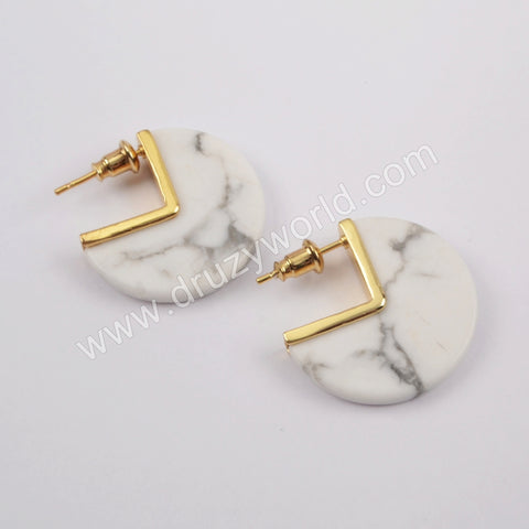 Gold Plated White Turquoise Stud Earrings ZG0431
