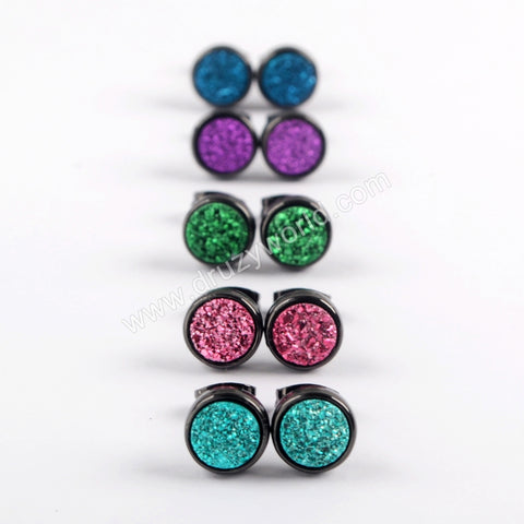 8mm Round Natural Agate Titanium Rainbow Black Druzy Geode Stud Earrings  ZB0328