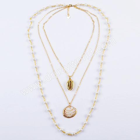 Wholesale 18K Gold Plated Cowrie Shell Sea Shell With Pearl Beads Necklace For Women G1636