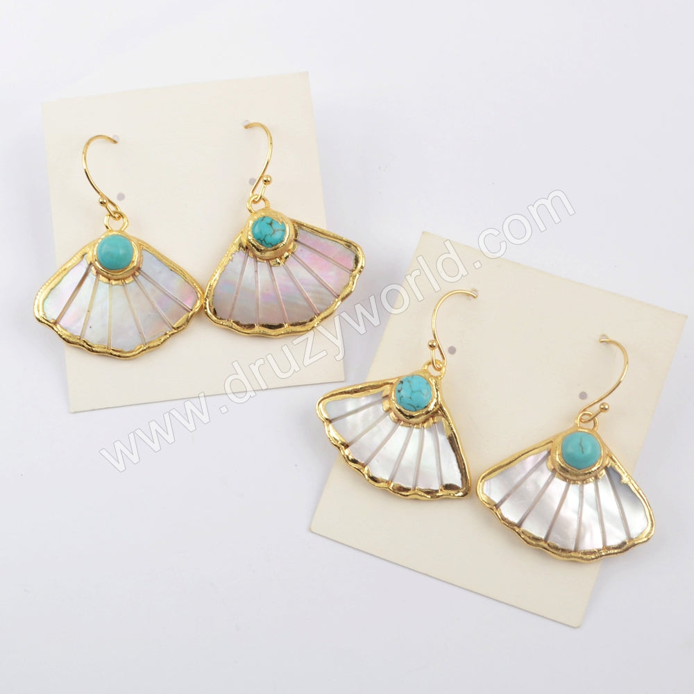 Fan Shape Gold Plated White Shell Howlite Turquoise Earrings Jewelry Gift G1895-E