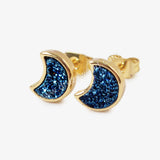 Bezel Rainbow Titanium Druzy Statement Stud Earrings Gold Plated ZG0282