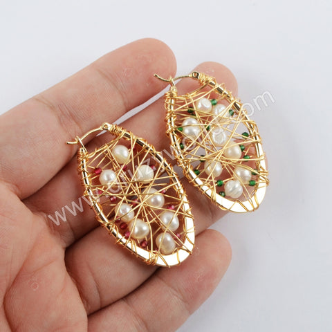 Natural Pearl Earrings Statement Earrings Gold Plated WX1314