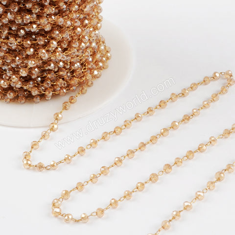 5m/lot,3mm Champagne Glass Beads Chains  JT172