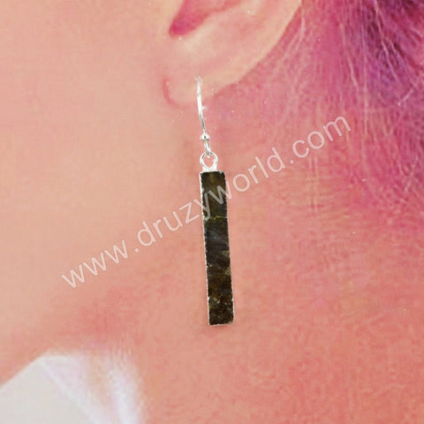 Gold Plated Rectangle Natural Labradorite Earrings G1923