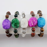 Rainbow Agate Druzy With 8mm Multi-kind Stone Beads Bracelet G1556