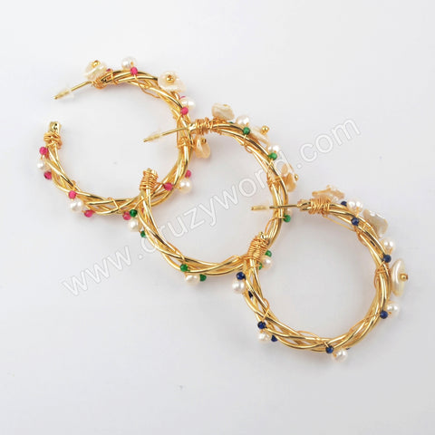 Natural Pearl Statement Earrings For Women Gold Plated WX1315
