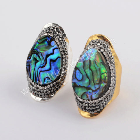 Tear Drop Gold Plated Rhinestone Pave Natural Abalone shell Ring JAB960
