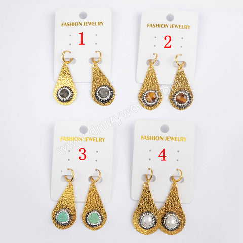 Rhinestone Pave Multi-kind Stone Dangle Earrings JAB806