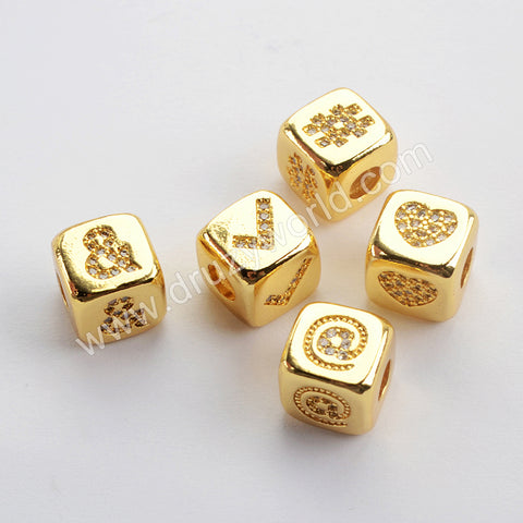 CZ Micro Pave Pattern Beads For Jewelry Making Gold Plated WX1336