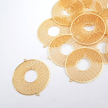 40mm Round Shape Gold Plated Brass Hollow Ring Connector PJ098