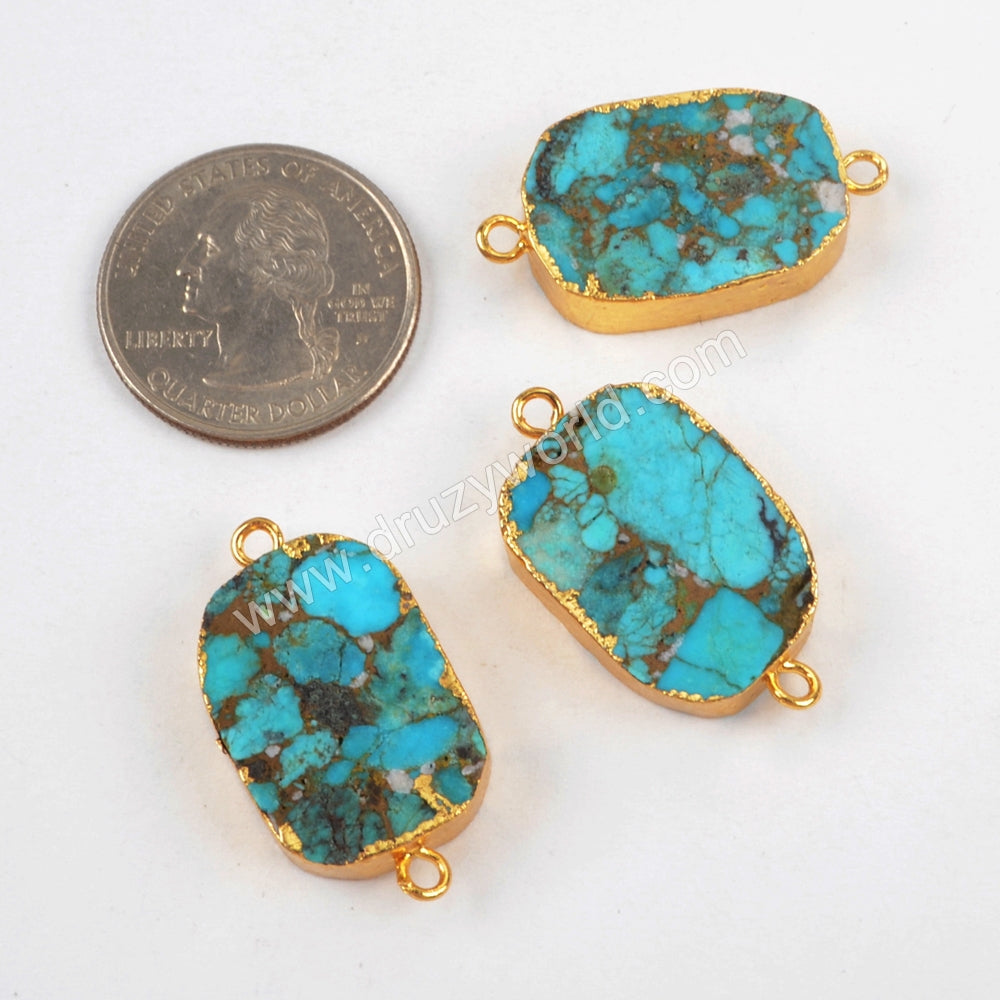 Copper Natural Turquoise Connector Jewelry Making Silver Plated S1470