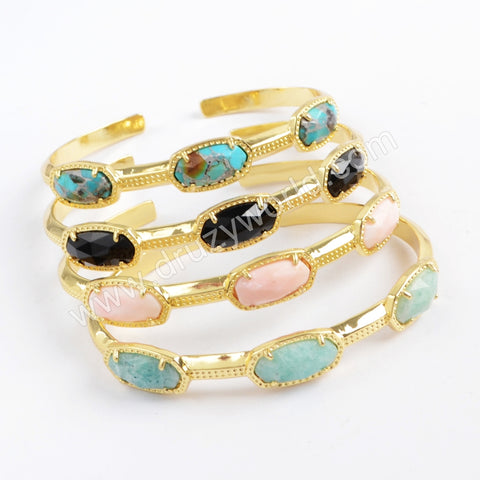 Gold Plated Bezel Hexagon Faceted Multi-kind Stone Three-Stone Bangle ZG0375